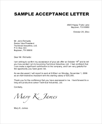 sample job acceptance letter 7 documents in pdf word in acceptance letter for job
