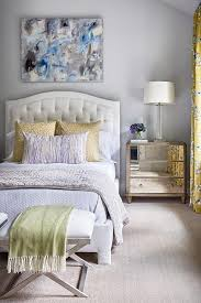 yellow and gray bedroom with blue and