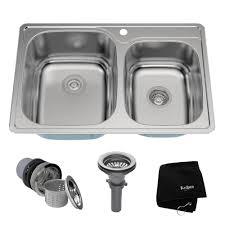 kraus stainless steel sinks.  Kraus KRAUS 33 Inch Topmount 6040 Double Bowl 18 Gauge Stainless Steel Kitchen  Sink With Intended Kraus Sinks N