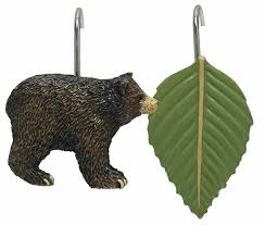 black bear shower curtain hooks by park designs bear leaf motif cabin style