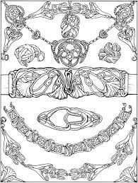 650 x 878 file type: Printable Coloring Page By Dover Publications Art Nouveau Jewelry Belt Bracelet Buckle Necklace Designs Coloring Books Coloring Pages Dover Coloring Pages