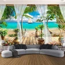 Custom 3D Photo Wallpaper Balcony Sandy ...