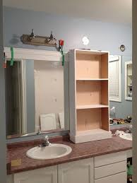 large bathroom mirror frame. Middle Cabinet In Place New Light Fixtures Connected And Now Onto The Framing Of Mirrors. Large Bathroom Mirror Frame O