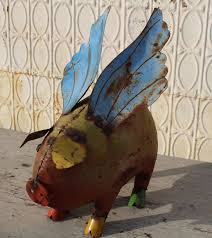 27 xl recycled metal flying pig lawn decoration to enlarge