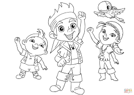 jake izzy cubby and skully are cheering together coloring page