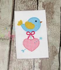 Machine Applique Designs Bird With Heart Machine Applique Design Valentines Machine