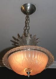 antique pink glass semi flush 1940s art deco light fixture chandelier photo