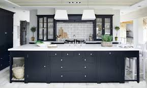 dark gray kitchens - Charcoal Suffolk kitchen with white counters and  backsplash by Neptune - via