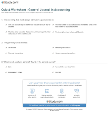 Accounting Worksheet Example Quiz Worksheet General Journal In Accounting Study Com