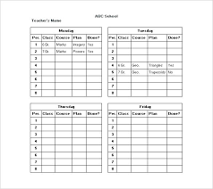 Teacher Weekly Planner Template Free Lesson Plan Class