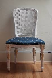 french cane chair. French Cane Chair With White Frame And Blue Gold Fabric