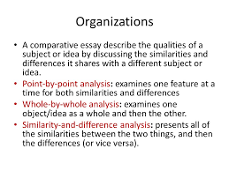 unit comparison and contrast essays what is comparison  organizations a comparative essay describe the qualities of a subject or idea by discussing the similarities