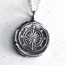 compass vintage inspired silver wax seal pendant this