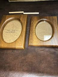 pair of wood picture photo frames oval