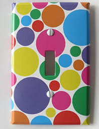 light switch covers. Rainbow Polka Dot Light Switch Plates Covers In Pink, Purple, Blue, Red, Green Yellow, And Orange Dots