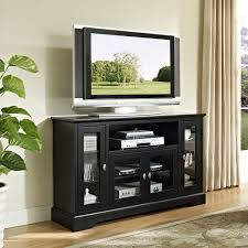 modern black painted mahogany wood media stand with glass doors
