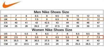 Nike Soccer Size Chart Nike Shoes Chart Size Nike Running Shoes