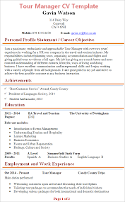 Tour Manager Cv Template Tips And Download Cv Plaza