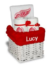 personalized detroit red wings small gift basket