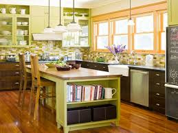 Kitchen:Enchanting Green Kitchen Wall Combined With Mahogany Kitchen Set  Also Green Deep Tray Ceiling