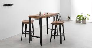 darby bar table and stools set mango wood and black  madecom
