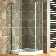 shower stall kits angle corner enclosure with white acrylic walk in tray and steel door basement