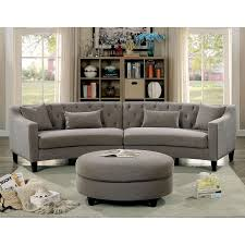 contemporary warm grey rounded design sectional sofa couch linen like fabric tufted cushion pillows armrest sectionals com