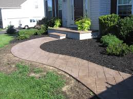 river rocks entry garden. Amazing Cement Walkway Ideas For Home Exterior Landscaping Purpose. Wondrous Front Yard River Rocks Entry Garden
