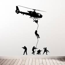Free Shipping <b>Helicopter Wall</b> Decal <b>Military Soldiers</b> Men Swat ...