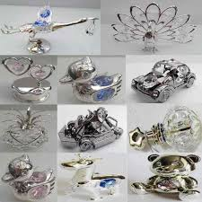 details about silver plated ornaments by crystal temptation swarovski element christening gift