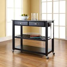 Granite Top Kitchen Cart Linon Home Decor Cameron Black Kitchen Cart With Storage