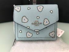 COACH Small Wallet With Heart Print 29740 Light Turquoise Western Heart