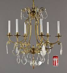 bronze crystal chandelier c1950 vintage antique gold ornate french glass