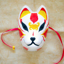 <b>Full Face Hand Painted Japanese</b> Fox Mask Red Yellow Pattern ...