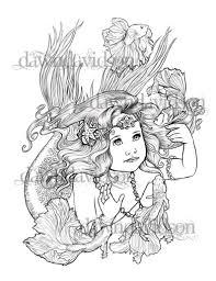 Volwassen Kleurplaten Pagina Mermaid Betta Vis Kleurplaten Etsy