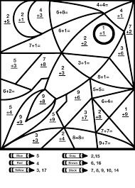 Free Color By Number Addition Worksheets Addition Coloring Pages ...
