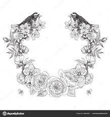 border frame victorian. Vintage Victorian Frame Border Monogram Floral Ornament. Engraved Retro Flower, Birds And Bees Decorative T