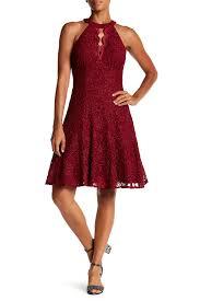 Nightway Venise Halter Neck Lace Glitter Detail Dress Nordstrom Rack