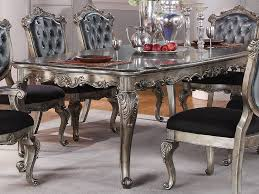chantelle collection antique platinum finish formal 7 piece dining room table set