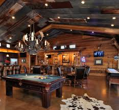 Masculine Garage Man Cave With Pool Table