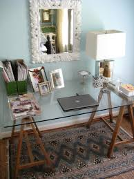 L Shaped Glass Desk With Drawers  FoterGlass Desk Office