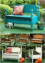 turn old beds into garden bench