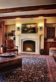 traditional style home with burning fireplace