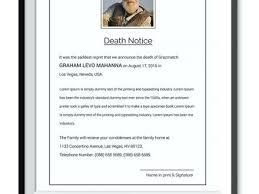 Basic Obituaries Template Death Announcement Sample Letter