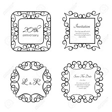Labels With Border Set Of Vintage Frames With Swirly Border Pattern Ornamental