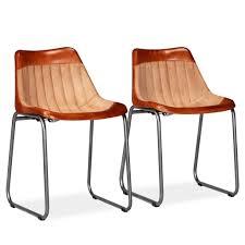 Vidaxl Esszimmerstühle 2 Stk Echtleder Und Leinen Braun Und Beige
