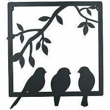 3 birds on wire branch wall art metal