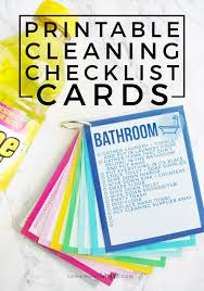 Bathroom Cleaning Schedule Delectable Printable Cleaning Checklist Cards Simple Cleaning Bucket Best