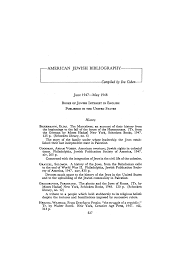 AMERICAN JEWISH BIBLIOGRAPHY: June 1947–May 1948: Books of Jewish Interest  in English Published in the United States