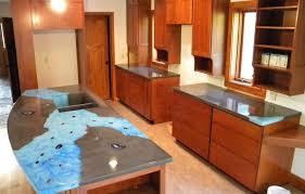unique lake home kitchen with colorful concrete countertops